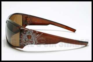 TATTOO Design Skull Sunglasses Biker Skater BROWN
