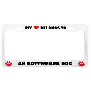 An Rottweiler Dog Pet White Metal License Plate Frame Tag