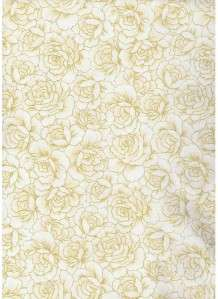 CREAM/IVORY ROSES W/METALLIC GOLD~ Cotton Quilt Fabric