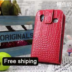 Red Flip Genuine Leather Case Cover for Samsung Galaxy Ace
