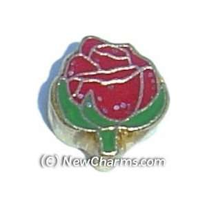 Red Rose Floating Locket Charm Jewelry