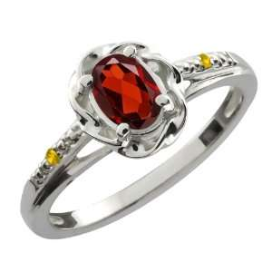 0.57 Ct Oval Red Garnet Yellow Sapphire 14K White Gold