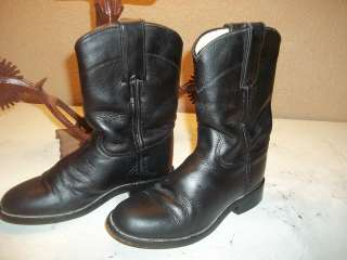 Ladys Justin Ropers Cowboy Boots Black Leather 5.5 D Western 5 1/2 5