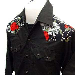 WESTERN CowBoy RockaBilly Skull & Rose VTG Punk Shirt