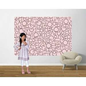 Alphabet Pink/Brown Easy Up Wall Mural Home & Kitchen