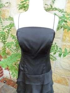 Lazaro Black Ruffle Formal Cocktail/Bridesmaid Dress Strapless