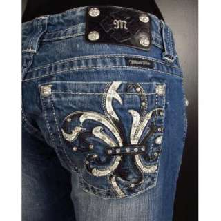 NWT MISS ME JEANS Boot Cut DUEL COLORED LEATHER FLEURS
