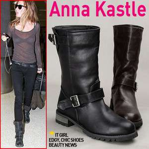 Annakastle Womens Mid Calf Motorcycle Biker Boots Black Brown Size 5 6