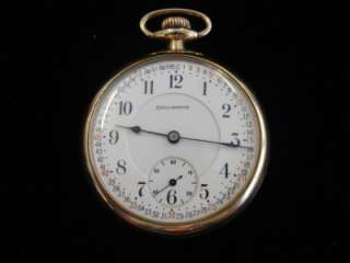 21 Jewel Diamond Masonic Burlington Open Face Pocket Watch 14K Gold