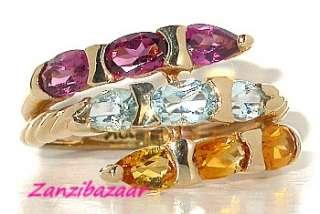 RHODOLITE GARNET, CITRINE & BLUE TOPAZ YELLOW GOLD RING