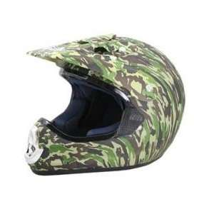 DOT ATV Dirt Bike MX Green Camo Motorcycle Helmet Sports