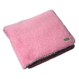 Ambajam Jumbo Cuddle Blanket, Cotton Candy Pink with Green Trim Baby
