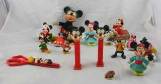 Lot of 17 Vintage Disney Collectibles Mickey Mouse Minnie Goofy Pez