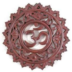 Carved Wood Wall Plaque, OM/Aum Symbol & Floral Design, Approximately