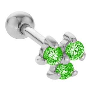 2mm Emerald Three Gem 14K White Gold Cartilage Stud Earring Jewelry