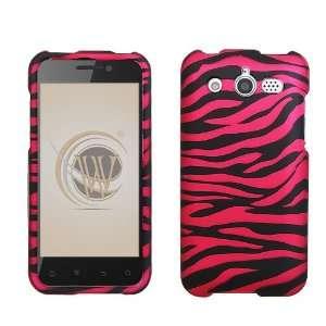 Huawei Mercury M886 Rubber Feel Hard Case Cover   Hot Pink Zebra