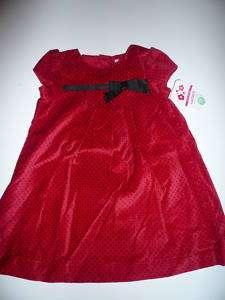 NWT~Carters Girls Red/Black Dot Velvet Dress. Sz 18 months.
