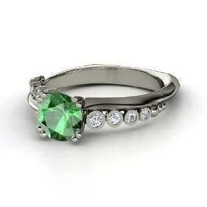 Isabella Ring, Round Emerald 14K White Gold Ring with