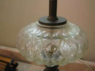 VTG MID CENTURY Cut Glass & Brass TABLE LAMP Marble Base QUILTED CLEAR