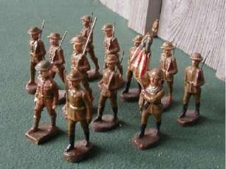 ELASTOLIN,12 Doughboys Marching,1 Flagman, Pre War