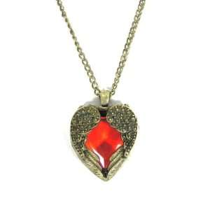 Heart Crystal Necklace Gold Angel Wings Ruby Red Crystal