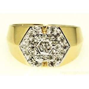 Mens Diamond 14k Yellow gold Cluster ring: Jewelry