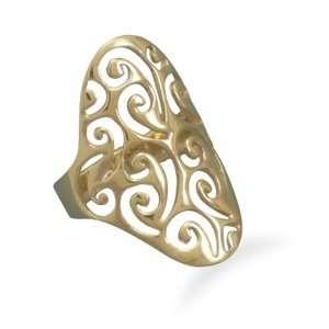 14 Karat Gold Plated Filigree Design Ring Jewelry
