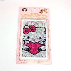 HELLO KITTY pink heart cellphone crystal sticker for
