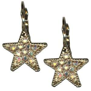Kirks Folly Earrings Dream Star Leverback Goldtone 22 Austrian Crystal