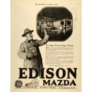 1918 Ad Edison Mazda General Electric Bulb Lamp Carbon
