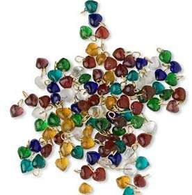 100 Mixed COLORED GLASS HEART BEADS Charms 6mm + Loop