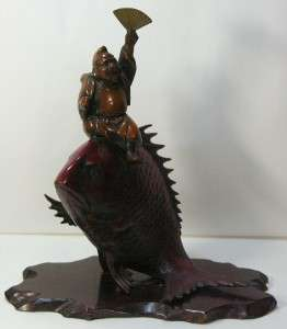 Japanese Buddha EBISU Lucky GOD on KOI Fish Okimono Cast Iron Statue