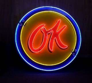 1950s OK Chevrolet Used Cars porcelain neon sign 60 clock shape