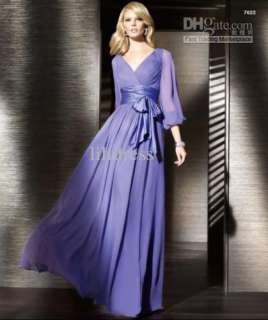 2012 Long Sleeves Chiffon Wedding Dress Formal Gowns Prom Ball Evening