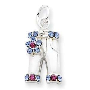 Sterling Silver Multi colored Crystal Pants Charm Jewelry