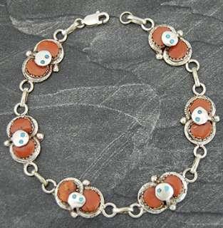 Zuni Effie Calavaza Silver Coral Snake Link Bracelet