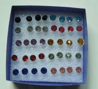 Wholesale Lots Nice 40 Pcs Of Multi Colored Crystal Stud Earrings 5mm