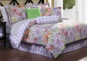 ELIZA Full 7pc Comforter Set Purple retro flower lilac