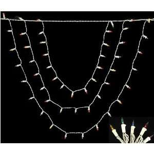 Set of 150 Multi Color Swag Christmas Lights   White Wire