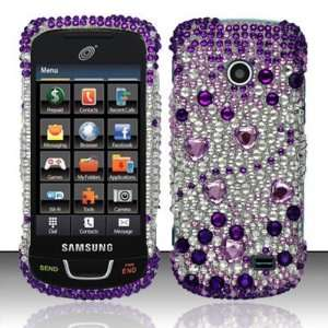 PURPLE GEMS Hard Plastic Rhinestone Bling Case for Samsung T528g [In