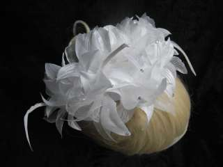 Bridal White Satin Chiffon Flower Feather Crystals Hair Piece