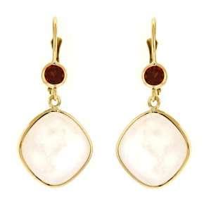 Yellow Gold Earrings Moonstone and Garn Garnet   JewelryWeb Jewelry