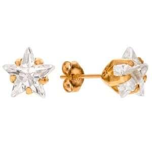 7mm 14k Yellow Gold Star Cut Cubic Zirconia Stud Earrings