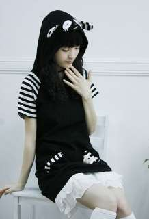 Japanese Cosplay Emo Raccoon Panda Bear Ear Top Shirt Hoodie   Black