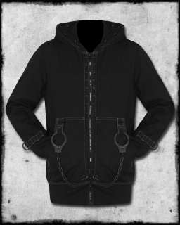 MENS BLACK GREY LOCK UP CUFF CHAIN STUDDED GOTH ZIP HOODIE HOODED TOP
