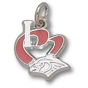 Atlanta Hawks NBA I Heart Logo 1/2 Enamel Pendant (Silver)
