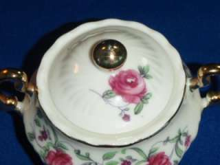 ROYAL SEALY JAPAN Creamer & Cover Sugar Bowl Pink Rose
