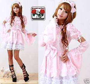 Japan Gothic Lolita Pink LACE Fairy Cute BOW Headdress