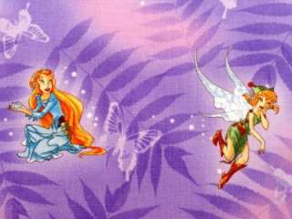 New Disney Tinkerbell Fairy Fairies Pixie Cartoon Fabric BTY