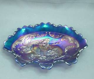 Northwood Carnival Glass Poppy Blue Pickle Dish 8 by 5 3/8